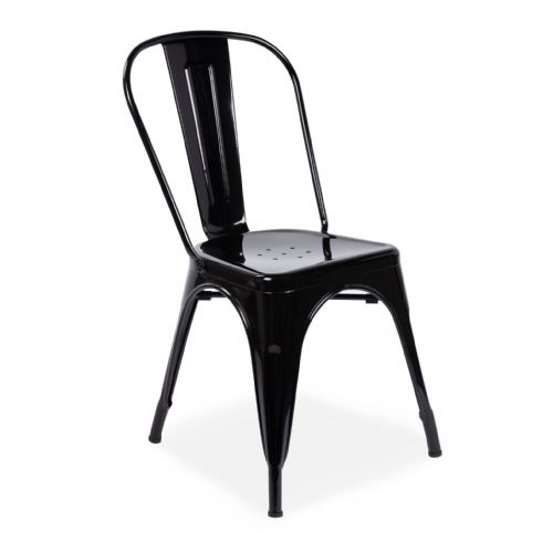x4 Tolix Metal Chair Stackable Dining Chair, Bright Black